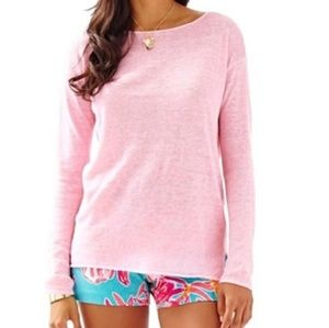 Lilly Pulitzer Pink Scoop Neck linen Sweater * Med